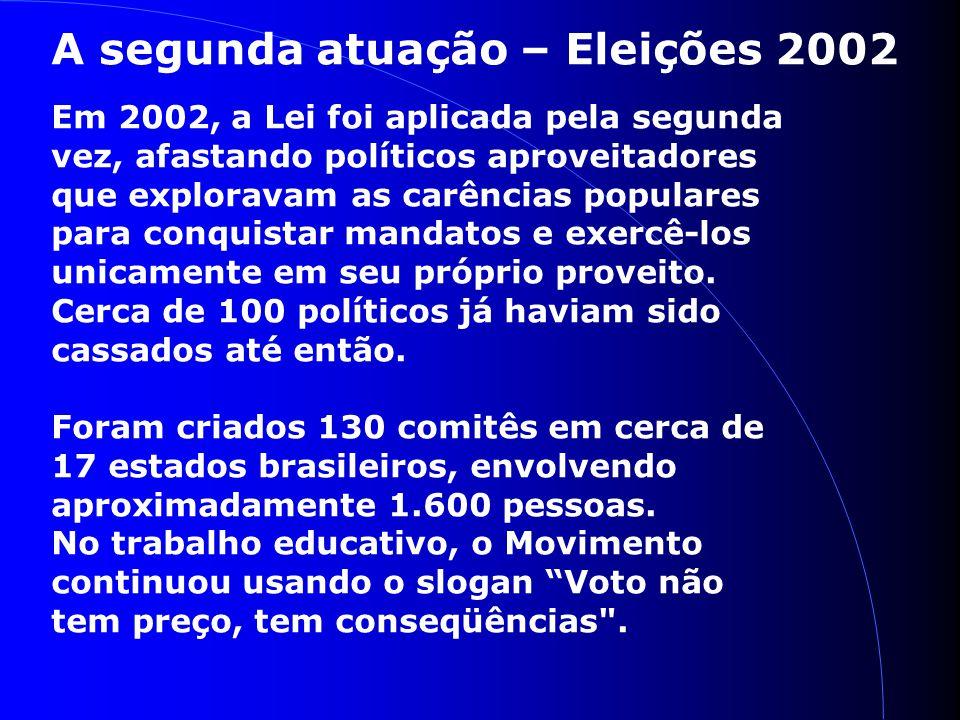 A segunda atuação – Eleições 2002 Em 2002, a Lei foi aplicada pela segunda vez, afastando políticos aproveitadores que exploravam as carências populares para conquistar mandatos e exercê-los unicamente em seu próprio proveito.