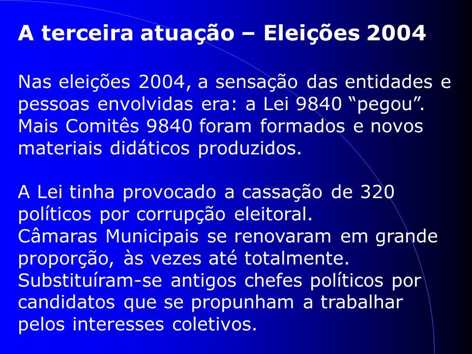 A terceira atuação – Eleições 2004 Nas eleições 2004, a sensação das entidades e pessoas envolvidas era: a Lei 9840 pegou.