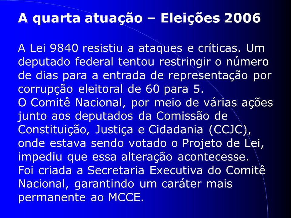 A quarta atuação – Eleições 2006 A Lei 9840 resistiu a ataques e críticas.