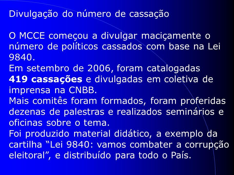 Divulgação do número de cassação O MCCE começou a divulgar maciçamente o número de políticos cassados com base na Lei 9840.