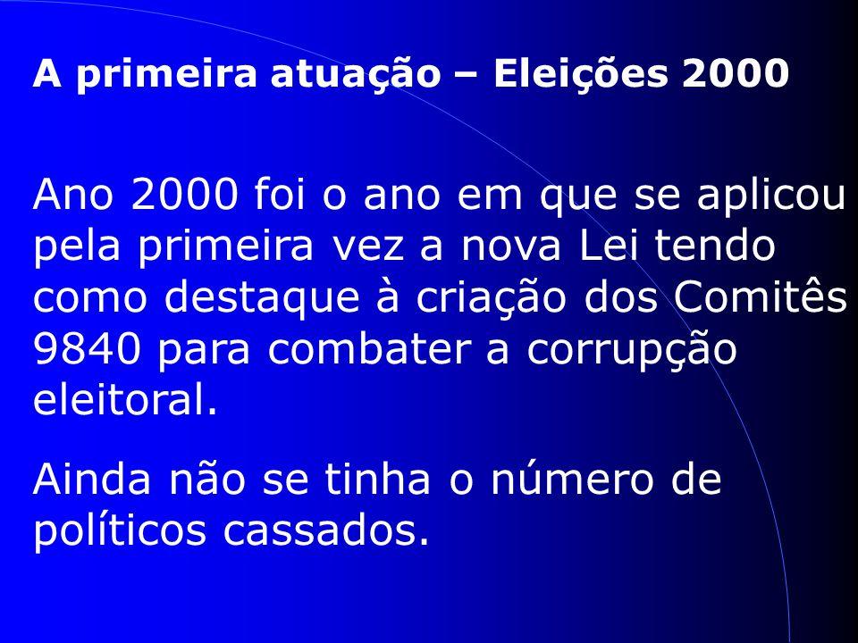 A primeira atuação – Eleições 2000 Ano 2000 foi o ano em que se aplicou pela primeira vez a nova Lei tendo como destaque à criação dos Comitês 9840 para combater a corrupção eleitoral.