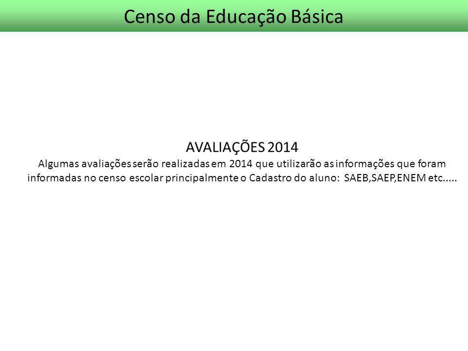 Censo da Educação Básica AVALIAÇÕES 2014 Algumas avaliações serão realizadas em 2014 que utilizarão as informações que foram informadas no censo escol
