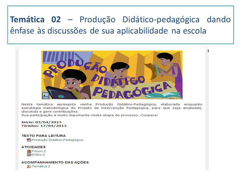 Temática 02 – Produção Didático-pedagógica dando ênfase às discussões de sua aplicabilidade na escola