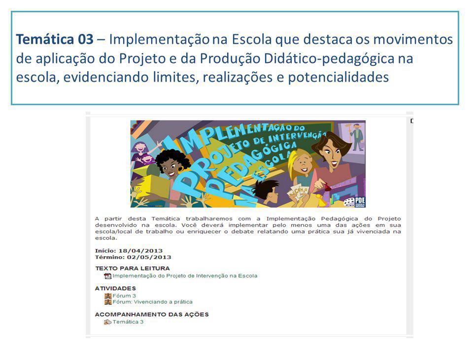 Temática 03 – Implementação na Escola que destaca os movimentos de aplicação do Projeto e da Produção Didático-pedagógica na escola, evidenciando limi