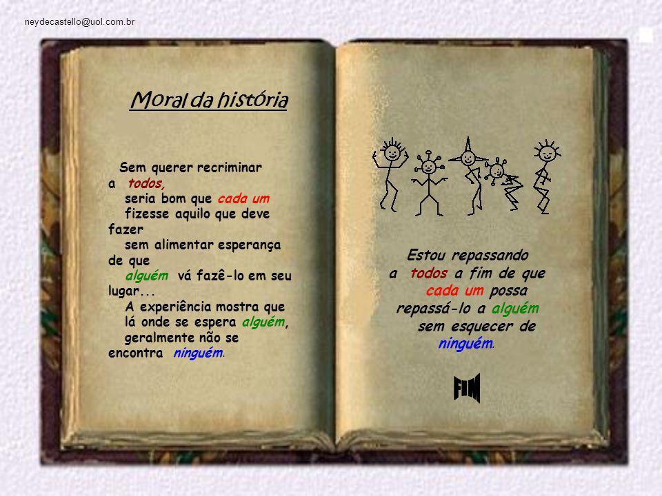 neydecastello@uol.com.br Estou repassando a todos a fim de que cada um possa repassá-lo a alguém sem esquecer de ninguém.