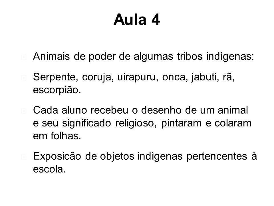Aula 4 Animais de poder de algumas tribos indìgenas: Serpente, coruja, uirapuru, onca, jabuti, rã, escorpião. Cada aluno recebeu o desenho de um anima