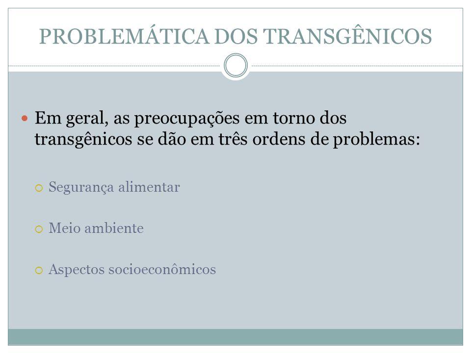 PROBLEMÁTICA DOS TRANSGÊNICOS Em geral, as preocupações em torno dos transgênicos se dão em três ordens de problemas: Segurança alimentar Meio ambient