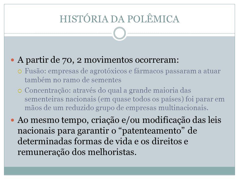 HISTÓRIA DA POLÊMICA A partir de 70, 2 movimentos ocorreram: Fusão: empresas de agrotóxicos e fármacos passaram a atuar também no ramo de sementes Con