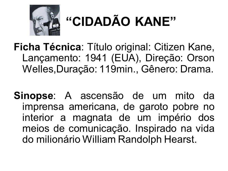 CIDADÃO KANE Ficha Técnica: Título original: Citizen Kane, Lançamento: 1941 (EUA), Direção: Orson Welles,Duração: 119min., Gênero: Drama. Sinopse: A a