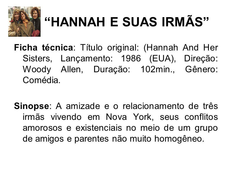 HANNAH E SUAS IRMÃS Ficha técnica: Título original: (Hannah And Her Sisters, Lançamento: 1986 (EUA), Direção: Woody Allen, Duração: 102min., Gênero: Comédia.