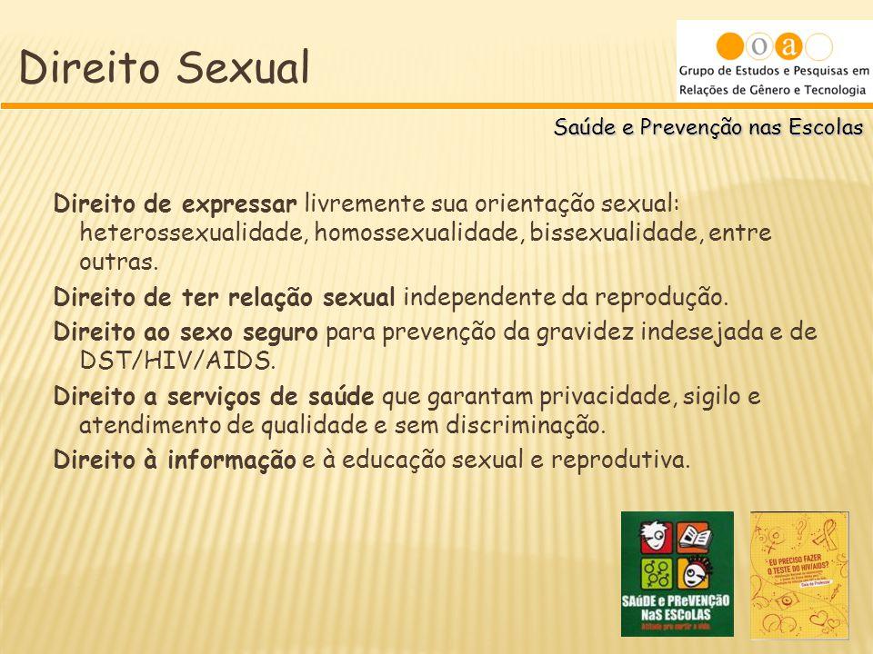 Saúde e Prevenção nas Escolas Direito Sexual Direito de expressar livremente sua orientação sexual: heterossexualidade, homossexualidade, bissexualida