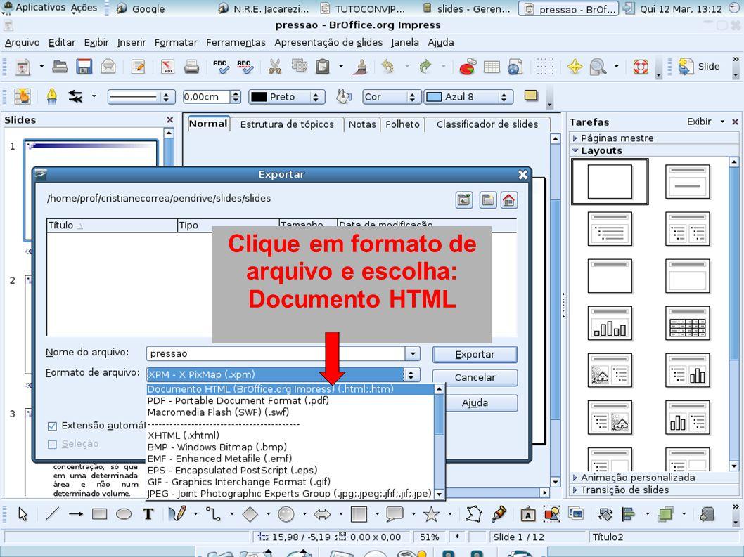 Clique em formato de arquivo e escolha: Documento HTML