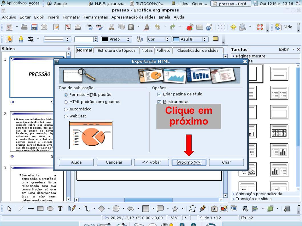 Clique em Formato comprimido e criar
