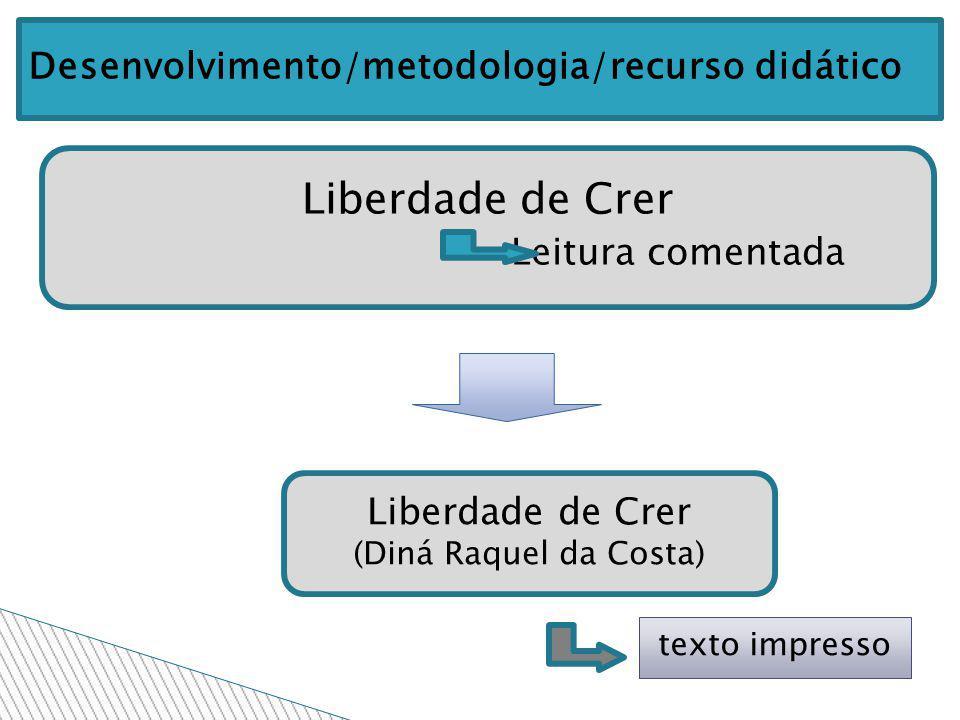 Liberdade de Crer Leitura comentada Liberdade de Crer (Diná Raquel da Costa) texto impresso Desenvolvimento/metodologia/recurso didático