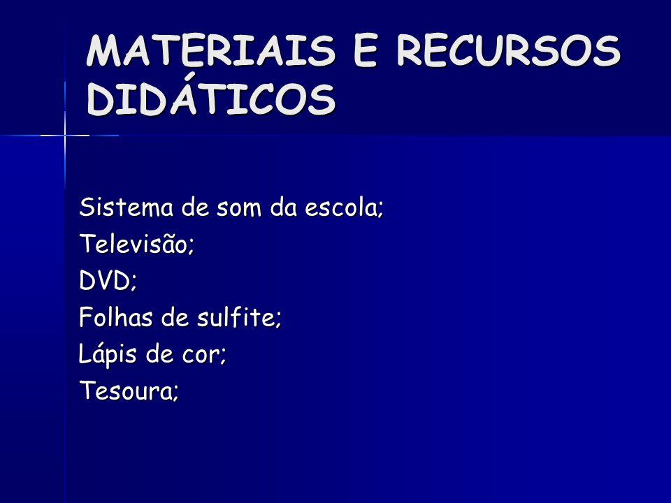 MATERIAIS E RECURSOS DIDÁTICOS Sistema de som da escola; Televisão;DVD; Folhas de sulfite; Lápis de cor; Tesoura;