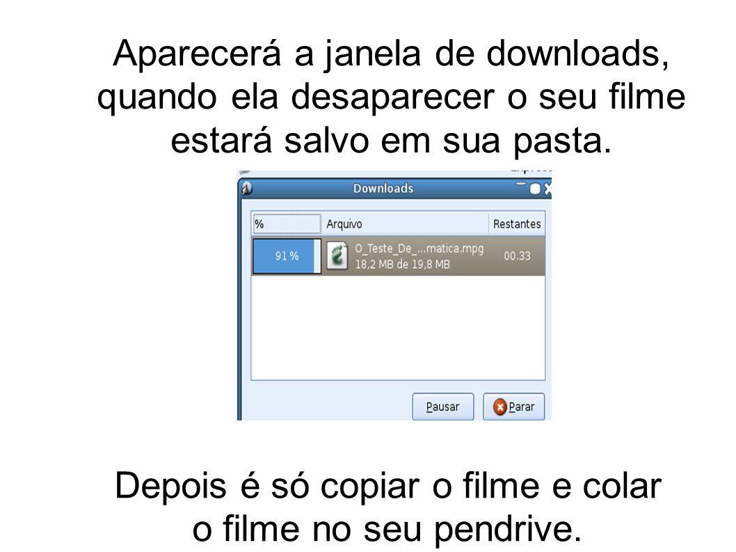 Aparecerá a janela de downloads, quando ela desaparecer o seu filme estará salvo em sua pasta. Depois é só copiar o filme e colar o filme no seu pendr