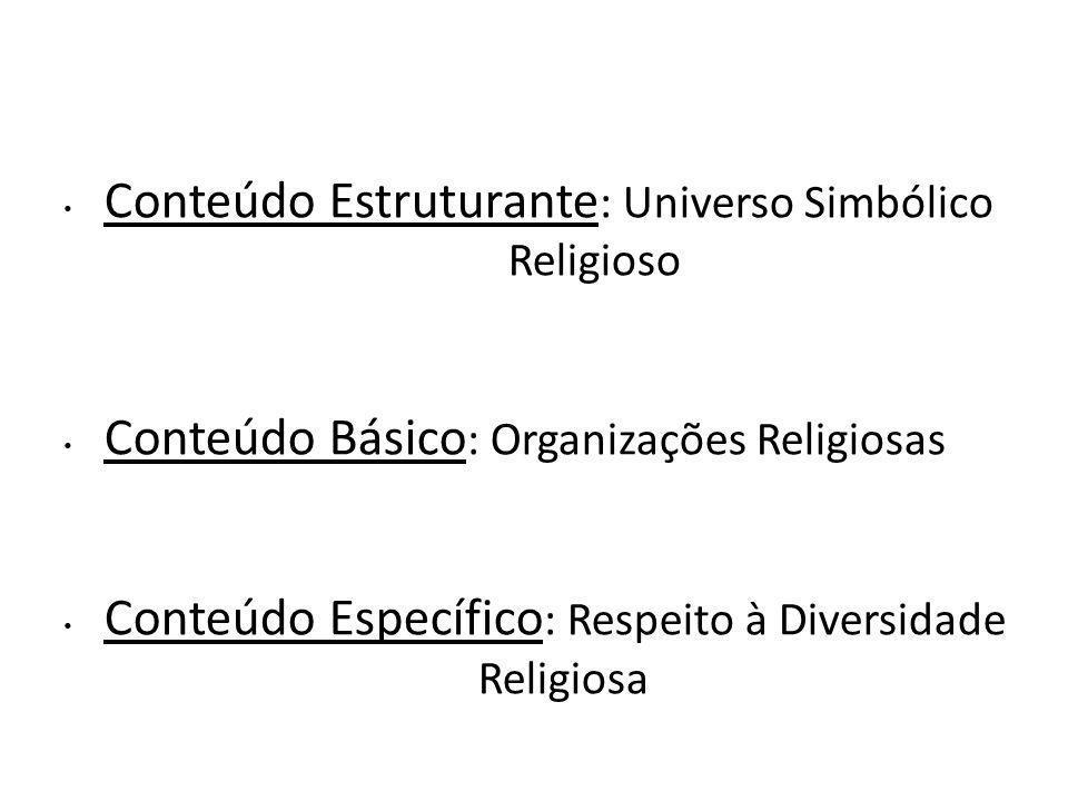 Conteúdo Estruturante : Universo Simbólico Religioso Conteúdo Básico : Organizações Religiosas Conteúdo Específico : Respeito à Diversidade Religiosa