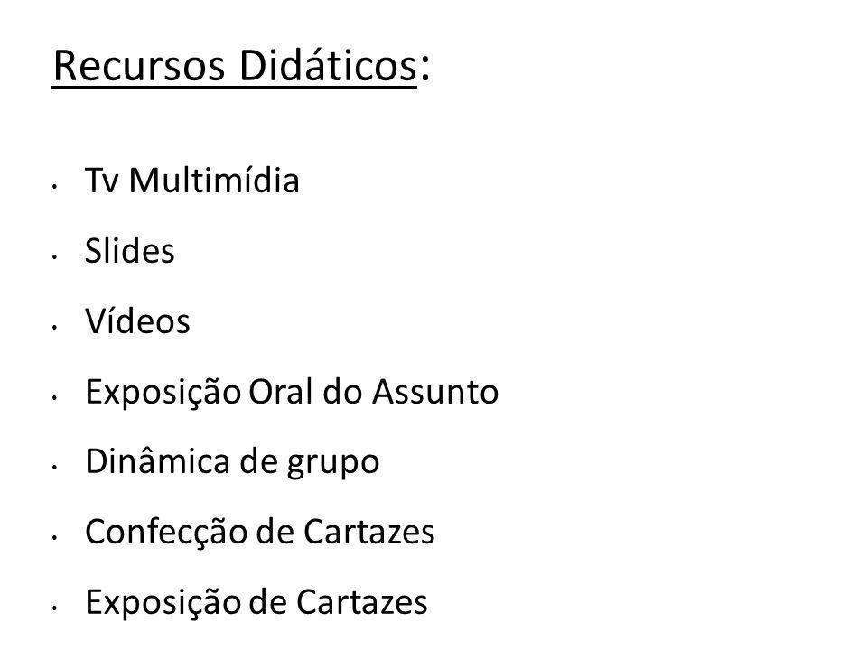 Recursos Didáticos : Tv Multimídia Slides Vídeos Exposição Oral do Assunto Dinâmica de grupo Confecção de Cartazes Exposição de Cartazes