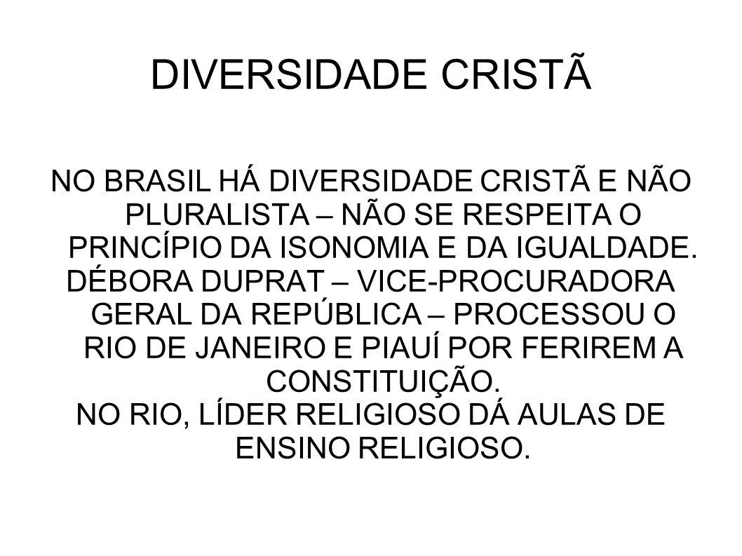 DIVERSIDADE CRISTÃ NO BRASIL HÁ DIVERSIDADE CRISTÃ E NÃO PLURALISTA – NÃO SE RESPEITA O PRINCÍPIO DA ISONOMIA E DA IGUALDADE. DÉBORA DUPRAT – VICE-PRO
