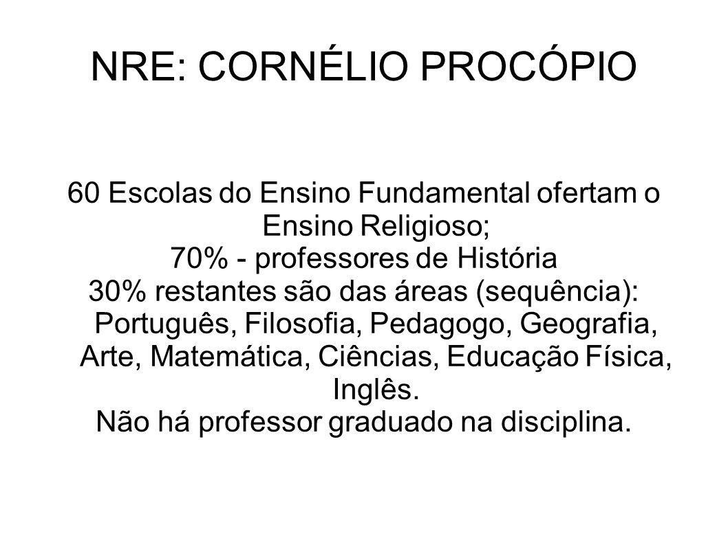 60 Escolas do Ensino Fundamental ofertam o Ensino Religioso; 70% - professores de História 30% restantes são das áreas (sequência): Português, Filosof