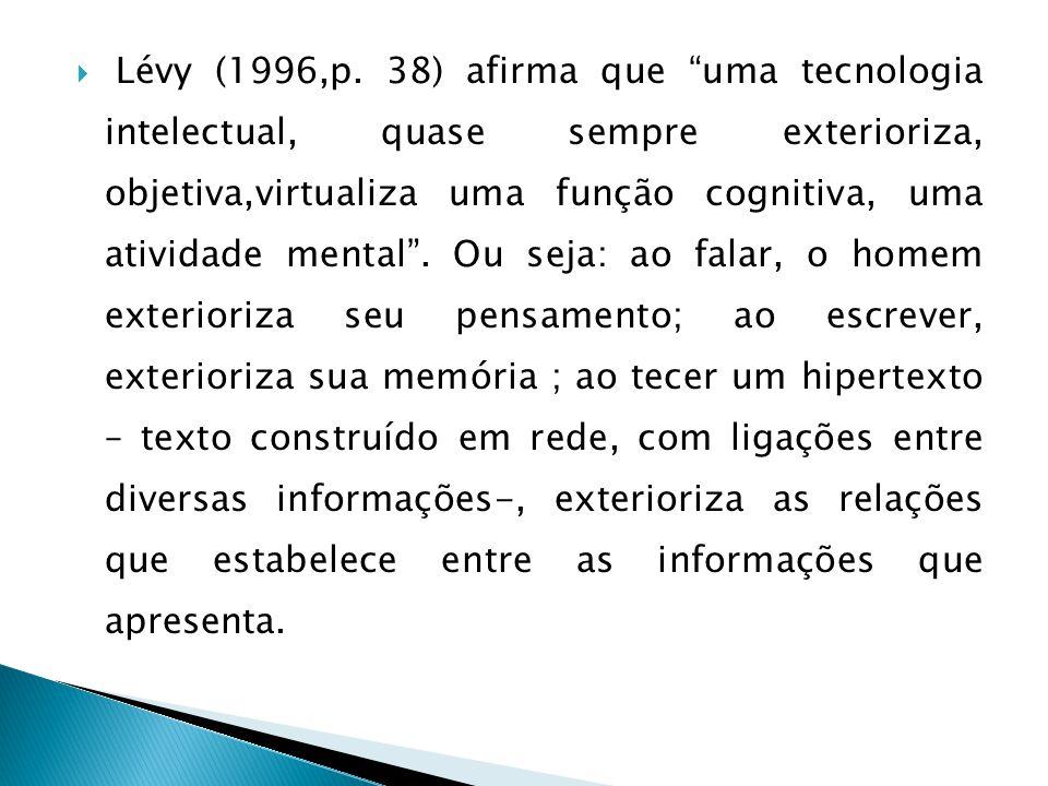 Lévy (1996,p. 38) afirma que uma tecnologia intelectual, quase sempre exterioriza, objetiva,virtualiza uma função cognitiva, uma atividade mental. Ou