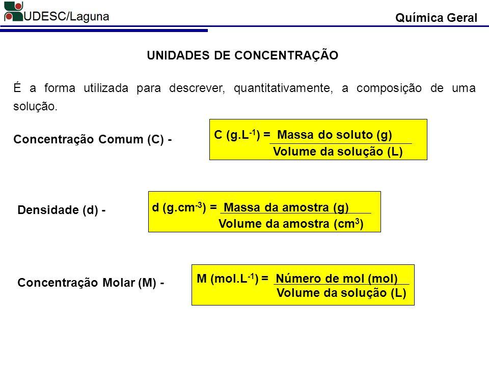 UNIDADES DE CONCENTRAÇÃO É a forma utilizada para descrever, quantitativamente, a composição de uma solução. Concentração Comum (C) - C (g.L -1 ) = Ma