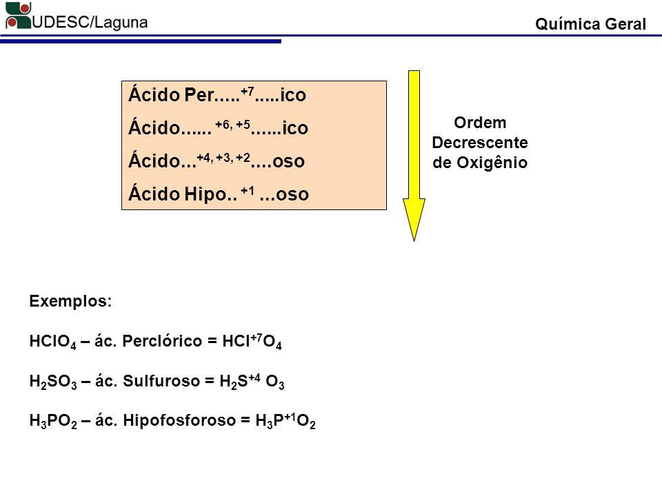 Ácido Per..... +7.....ico Ácido...... +6, +5......ico Ácido... +4, +3, +2....oso Ácido Hipo.. +1...oso Ordem Decrescente de Oxigênio Exemplos: HClO 4