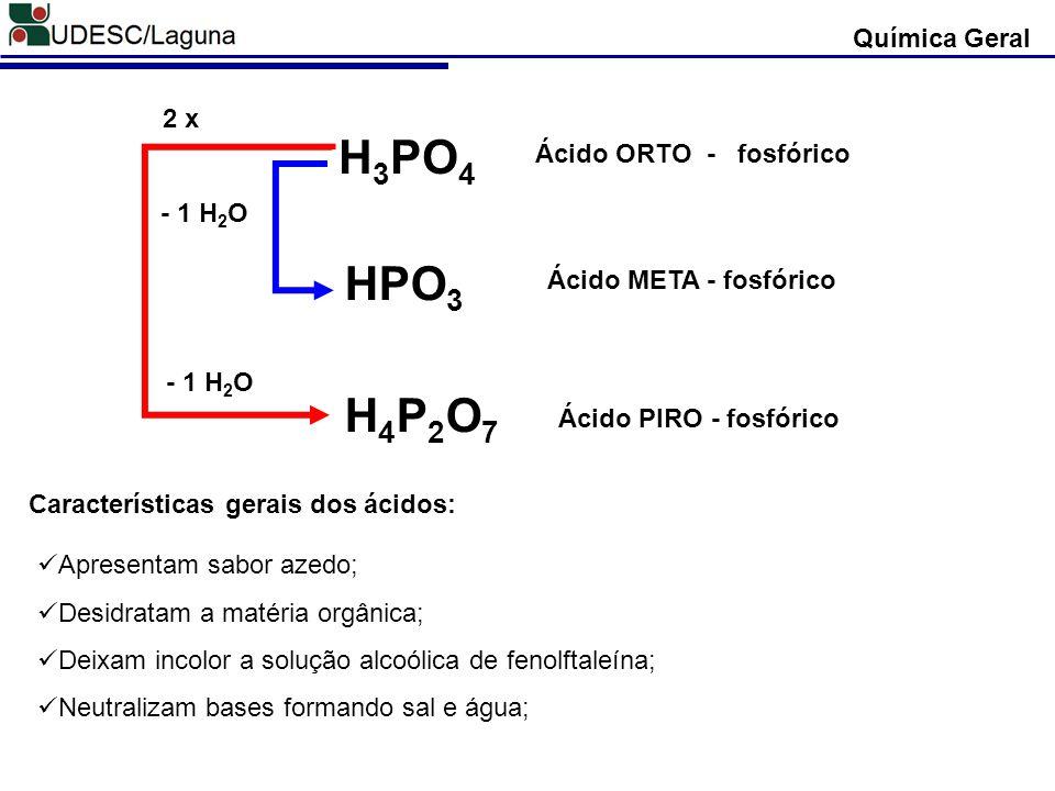 H 3 PO 4 Ácido ORTO - fosfórico HPO 3 Ácido META - fosfórico H4P2O7H4P2O7 Ácido PIRO - fosfórico - 1 H 2 O 2 x Química Geral Características gerais do