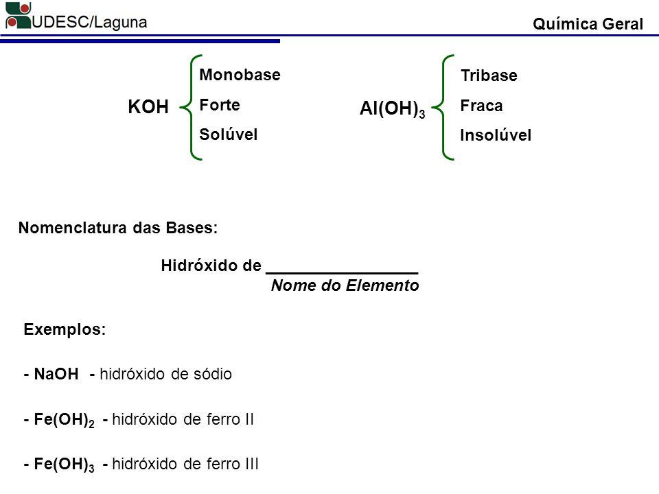 Química Geral KOH Monobase Forte Solúvel Al(OH) 3 Tribase Fraca Insolúvel Nomenclatura das Bases: Hidróxido de _________________ Nome do Elemento Exem
