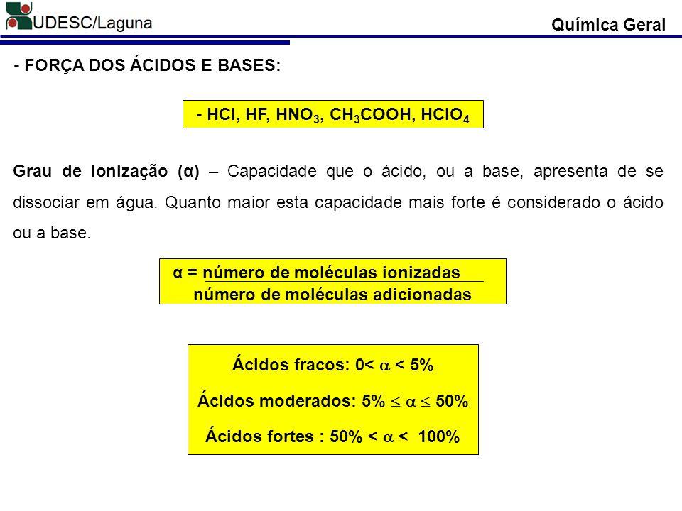 - FORÇA DOS ÁCIDOS E BASES: Grau de Ionização (α) – Capacidade que o ácido, ou a base, apresenta de se dissociar em água. Quanto maior esta capacidade