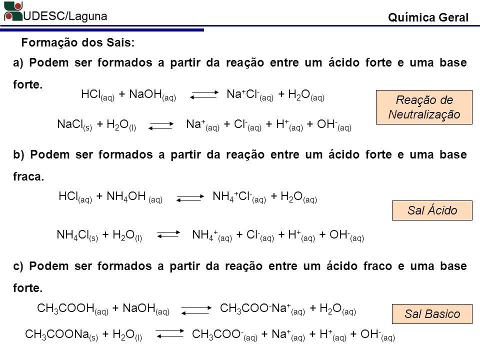 Química Geral Formação dos Sais: a) Podem ser formados a partir da reação entre um ácido forte e uma base forte. b) Podem ser formados a partir da rea
