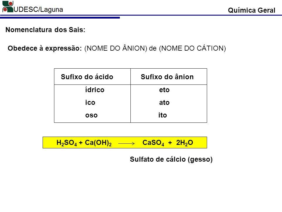 Obedece à expressão: (NOME DO ÂNION) de (NOME DO CÁTION) Nomenclatura dos Sais: H 2 SO 4 + Ca(OH) 2 CaSO 4 + 2H 2 O Sulfato de cálcio (gesso) Química