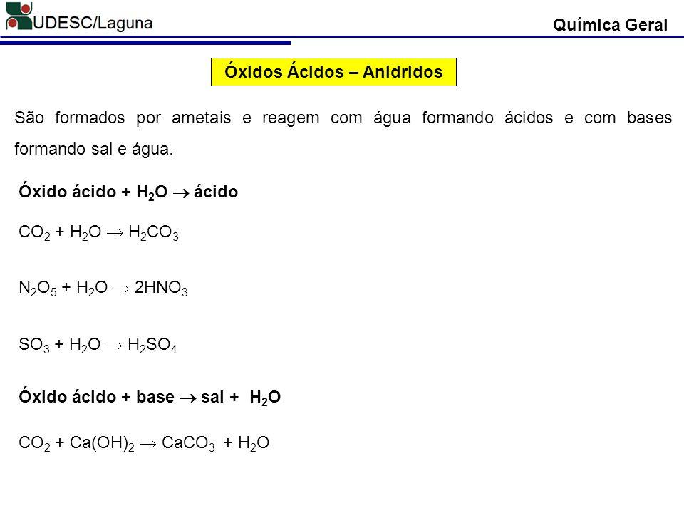 Óxidos Ácidos – Anidridos São formados por ametais e reagem com água formando ácidos e com bases formando sal e água. CO 2 + H 2 O H 2 CO 3 N 2 O 5 +