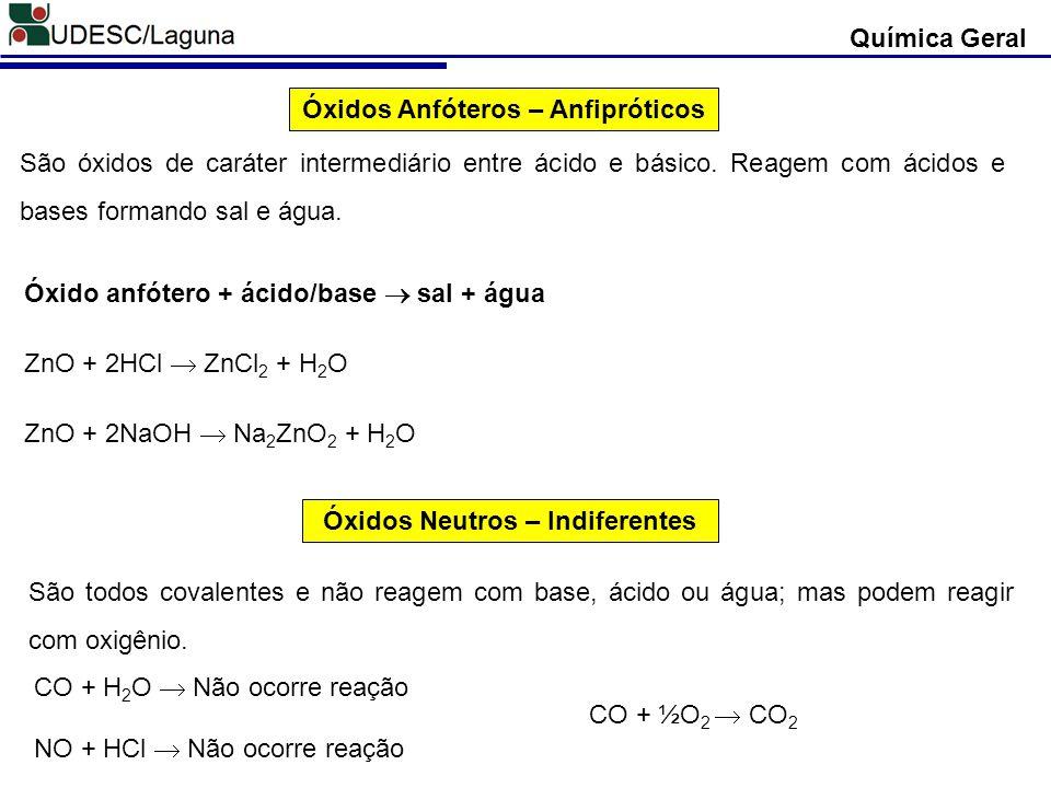 Óxidos Anfóteros – Anfipróticos São óxidos de caráter intermediário entre ácido e básico. Reagem com ácidos e bases formando sal e água. ZnO + 2NaOH N