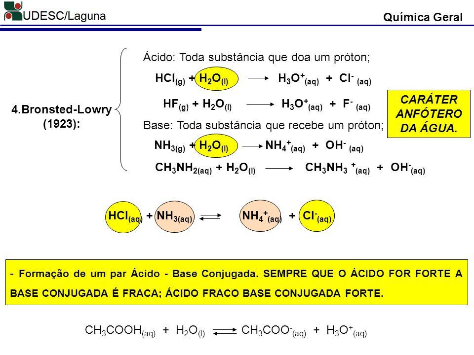 4.Bronsted-Lowry (1923): Ácido: Toda substância que doa um próton; Base: Toda substância que recebe um próton; HCl (g) + H 2 O (l) H 3 O + (aq) + Cl -