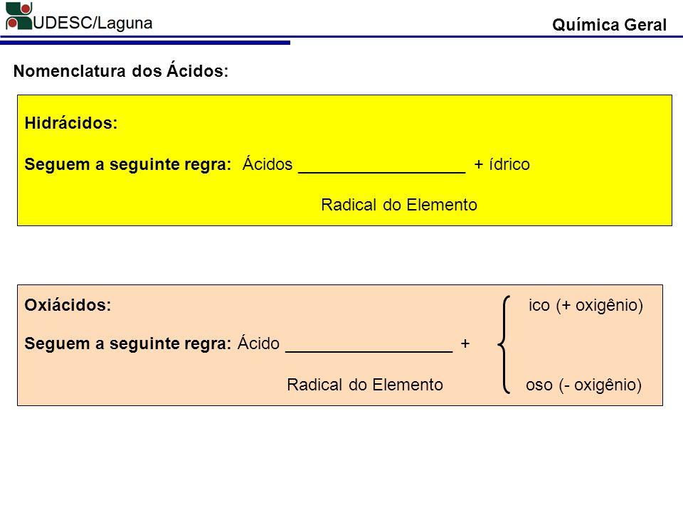 Hidrácidos: Seguem a seguinte regra: Ácidos __________________ + ídrico Radical do Elemento Oxiácidos: ico (+ oxigênio) Seguem a seguinte regra: Ácido