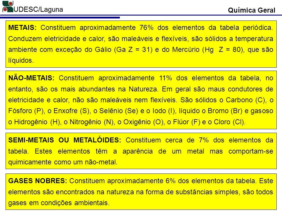 Química Geral METAIS: Constituem aproximadamente 76% dos elementos da tabela periódica. Conduzem eletricidade e calor, são maleáveis e flexíveis, são