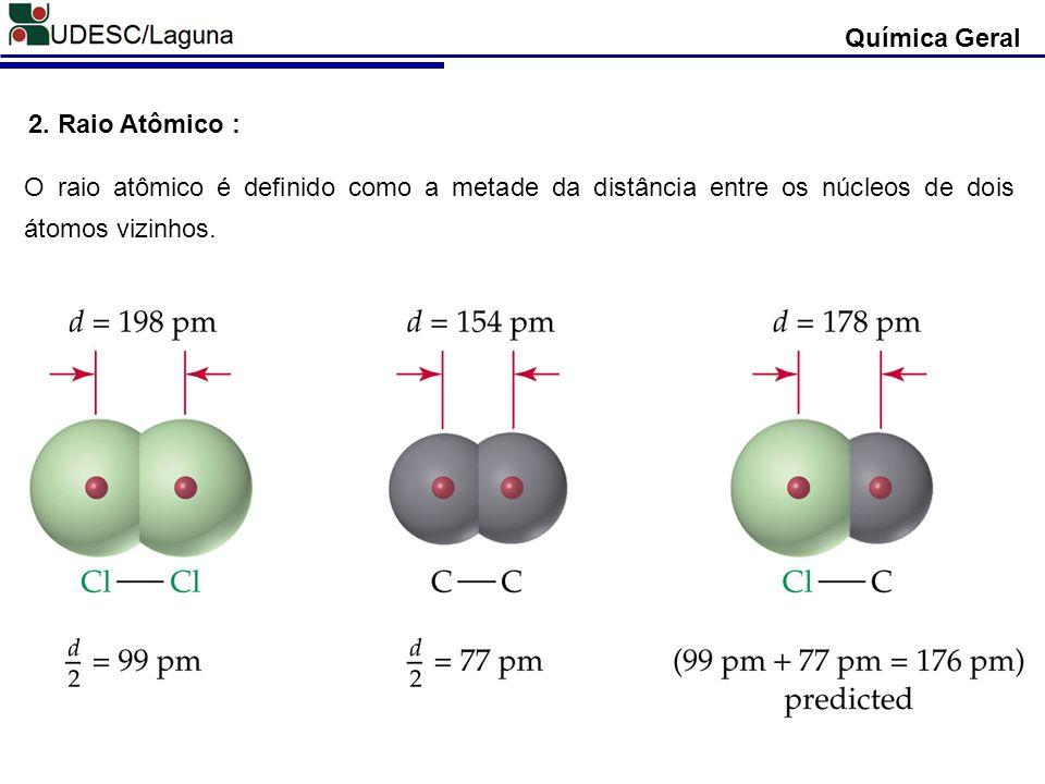 Química Geral 2. Raio Atômico : O raio atômico é definido como a metade da distância entre os núcleos de dois átomos vizinhos.