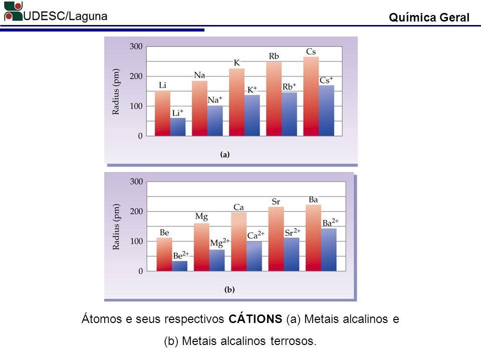 Química Geral Átomos e seus respectivos CÁTIONS (a) Metais alcalinos e (b) Metais alcalinos terrosos.
