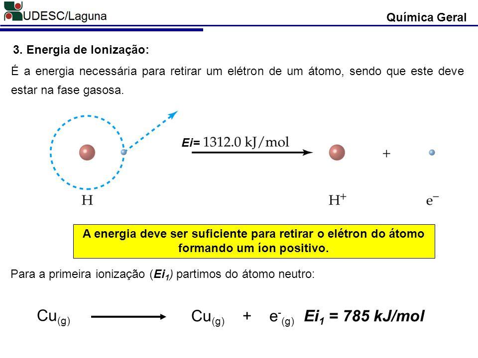 Química Geral 3. Energia de Ionização: É a energia necessária para retirar um elétron de um átomo, sendo que este deve estar na fase gasosa. A energia