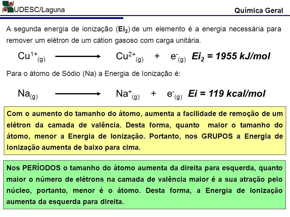 A segunda energia de ionização (Ei 2 ) de um elemento é a energia necessária para remover um elétron de um cátion gasoso com carga unitária. Cu 1+ (g)
