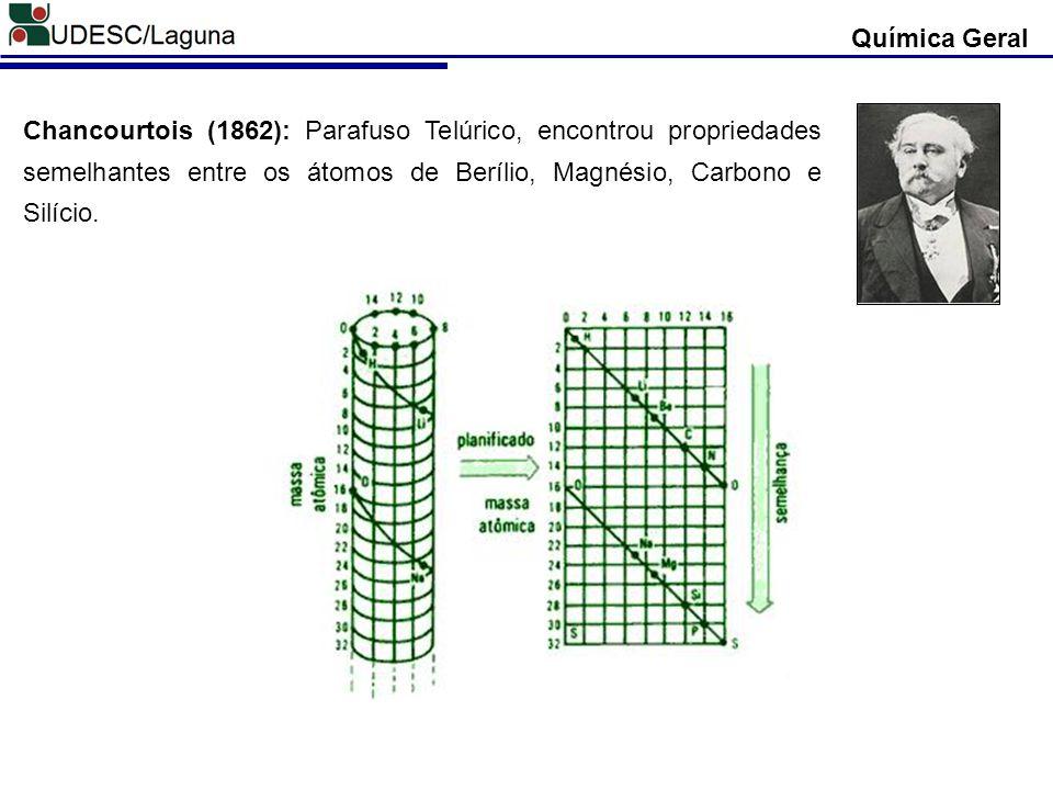Chancourtois (1862): Parafuso Telúrico, encontrou propriedades semelhantes entre os átomos de Berílio, Magnésio, Carbono e Silício. Química Geral