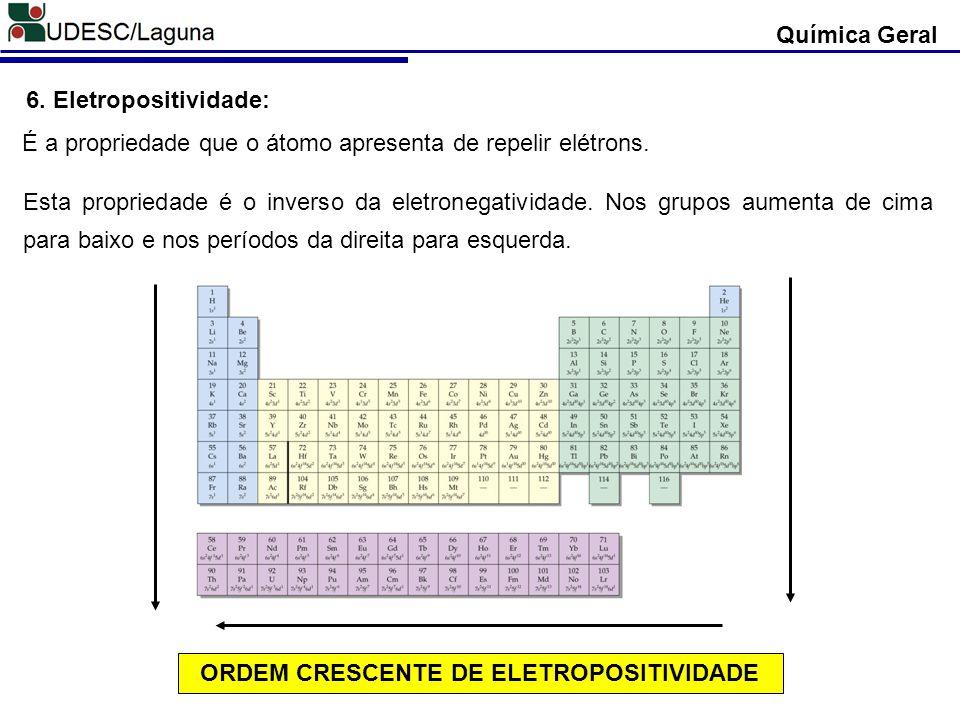 Química Geral 6. Eletropositividade: É a propriedade que o átomo apresenta de repelir elétrons. Esta propriedade é o inverso da eletronegatividade. No