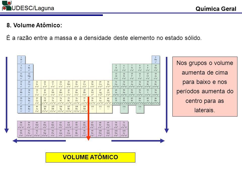 Química Geral 8. Volume Atômico: É a razão entre a massa e a densidade deste elemento no estado sólido. VOLUME ATÔMICO Nos grupos o volume aumenta de