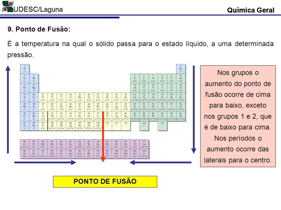 Química Geral 9. Ponto de Fusão: É a temperatura na qual o sólido passa para o estado líquido, a uma determinada pressão. PONTO DE FUSÃO Nos grupos o