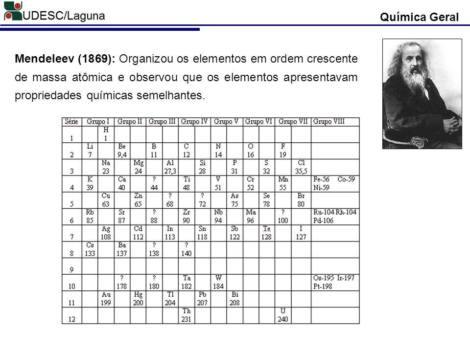 Mendeleev (1869): Organizou os elementos em ordem crescente de massa atômica e observou que os elementos apresentavam propriedades químicas semelhante