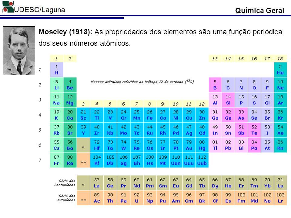 Moseley (1913): As propriedades dos elementos são uma função periódica dos seus números atômicos.