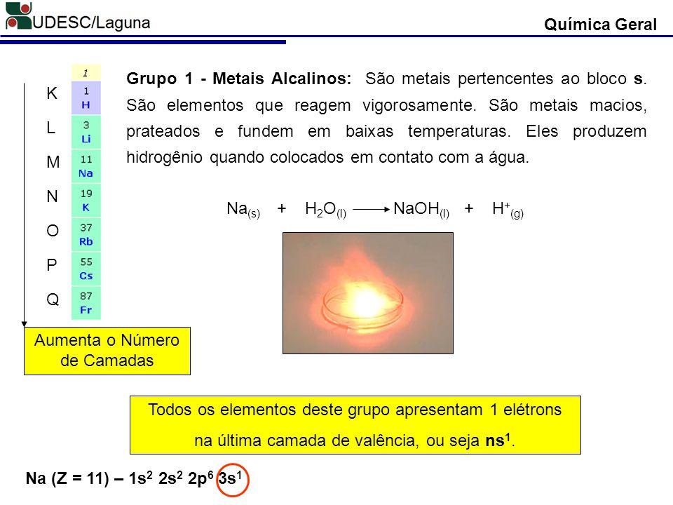 Grupo 1 - Metais Alcalinos: São metais pertencentes ao bloco s. São elementos que reagem vigorosamente. São metais macios, prateados e fundem em baixa