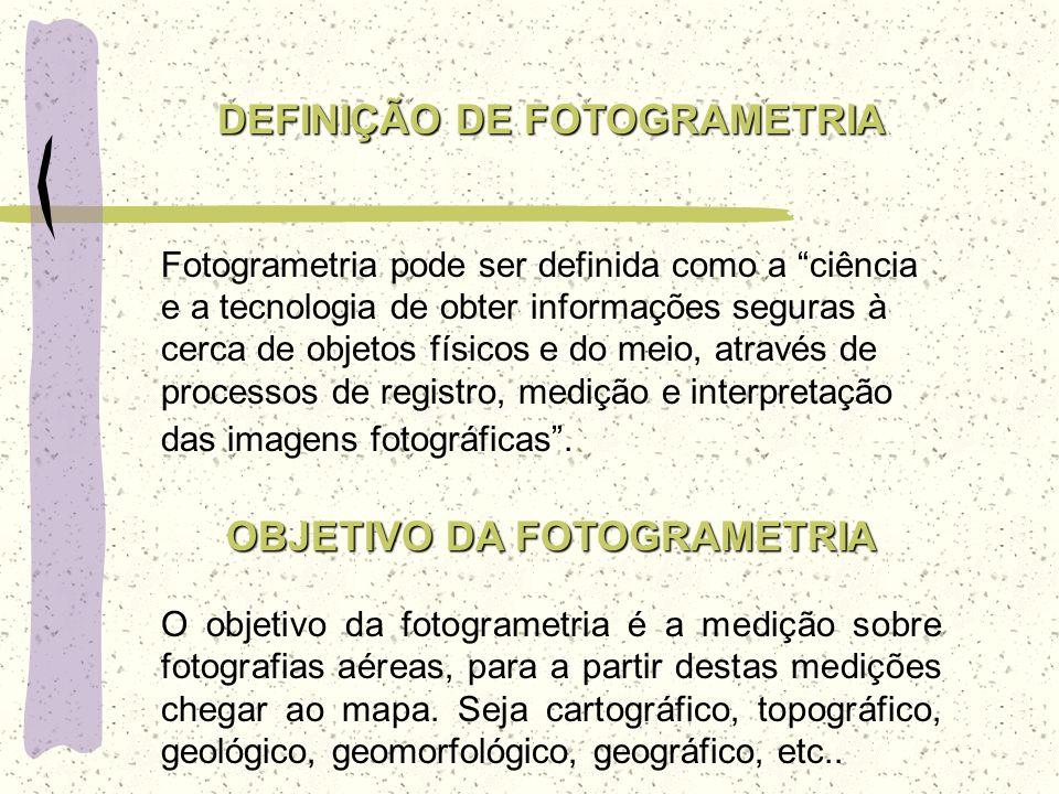 DEFINIÇÃO DE FOTOGRAMETRIA Fotogrametria pode ser definida como a ciência e a tecnologia de obter informações seguras à cerca de objetos físicos e do