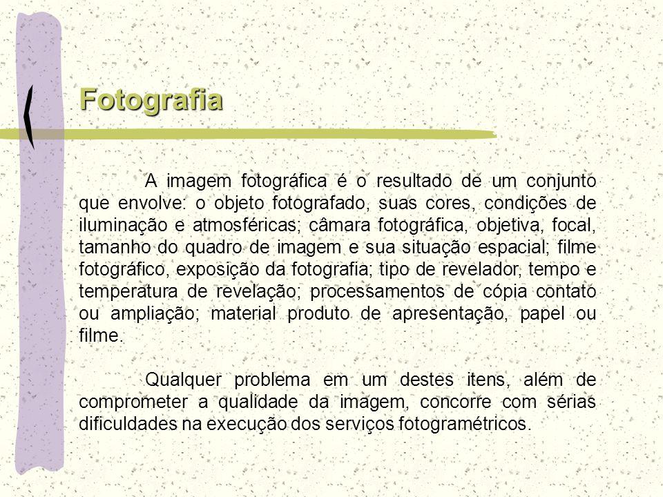 Fotografia A imagem fotográfica é o resultado de um conjunto que envolve: o objeto fotografado, suas cores, condições de iluminação e atmosféricas; câ